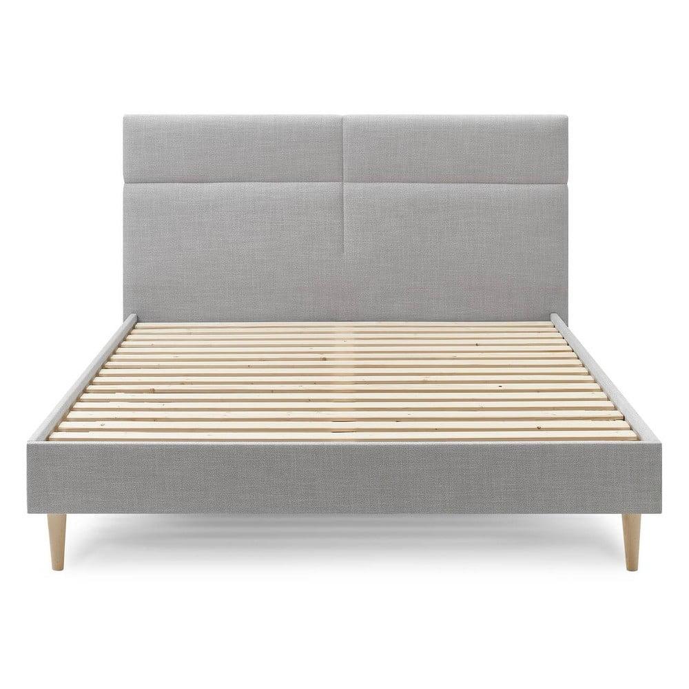 Szare łóżko dwuosobowe Bobochic Paris Elyna Light, 160x200 cm