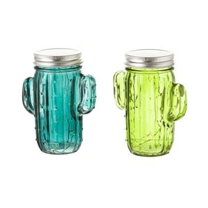 Zestaw szklanek w kształcie kaktusów ze światełkami LED