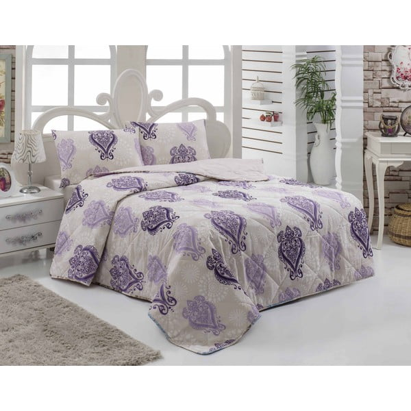 Narzuta pikowana i 2 poszewki na poduszkę Myrus Lilac, 200x220 cm