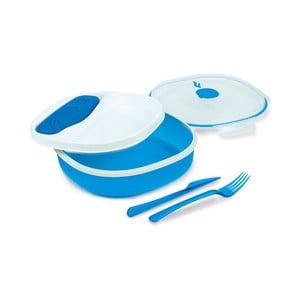 Niebiesko-biały pojemnik na lunch sze sztućcami i z wkładem chłodzącym Snips Lunch