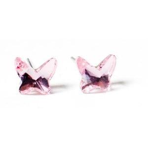 Kolczyki Swarovski Elements Butterfly Pink