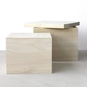 Zestaw 2 drewnianych pudełek Boite de rangement