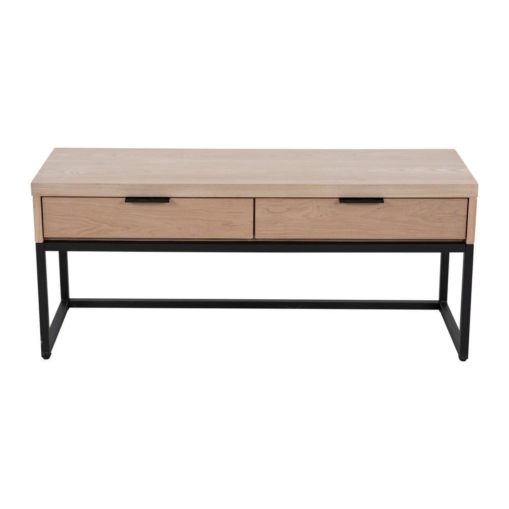 Stolik pod TV z 2 szufladami z drewna jesionu i metalową konstrukcją Canett Cara, szer. 43 cm