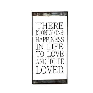 Szklana tabliczka z napisem One Happiness, 20x40 cm