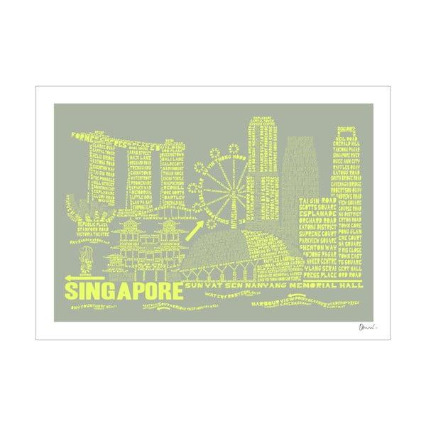 Plakat Singapore Grey&Yellow, 50x70 cm
