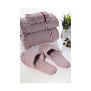 Zestaw 3 ręczników i kapci Pearly V4