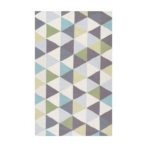 Wełniany dywan Triangles Green, 152x244 cm