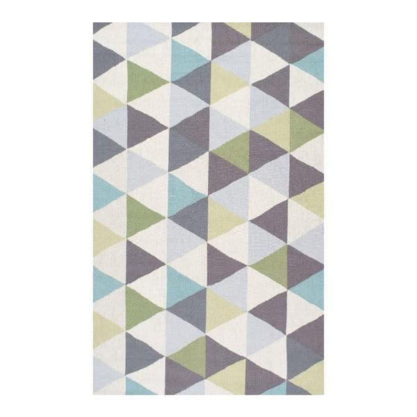 Wełniany dywan Triangles Green, 122x182 cm