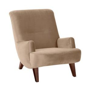 Beżowy fotel z brązowymi nogami Max Winzer Brandford Suede