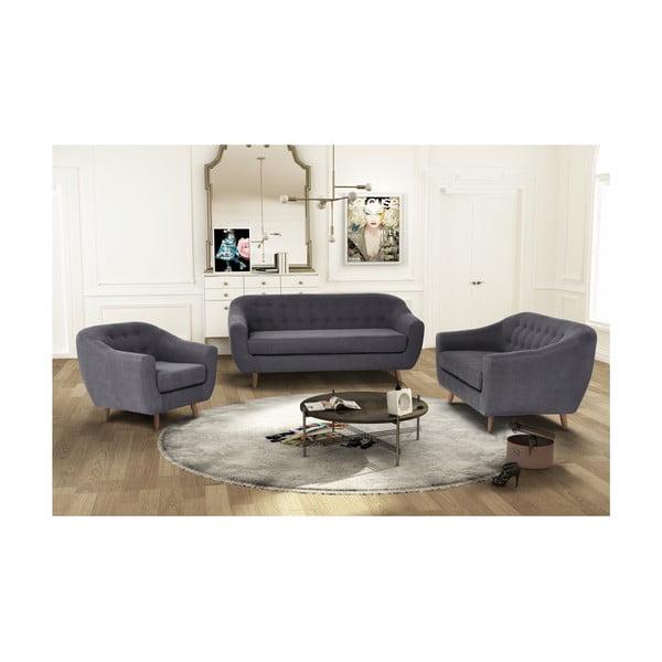 Antracytowy zestaw fotela i 2 sof dwuosobowej i trzyosobowej Jalouse Maison Vicky