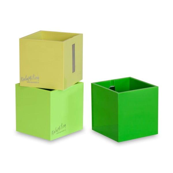 Zestaw 3 magnetycznych doniczek Cube Green, duży