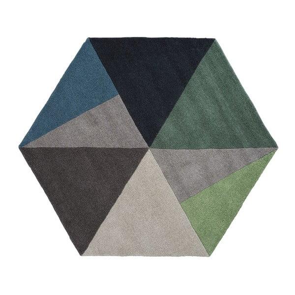 Wełniany dywan Sato Petrol, 150x130 cm