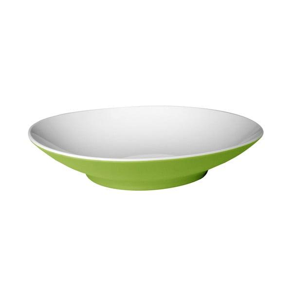 Zielony głęboki talerz Entity, 22,2 cm