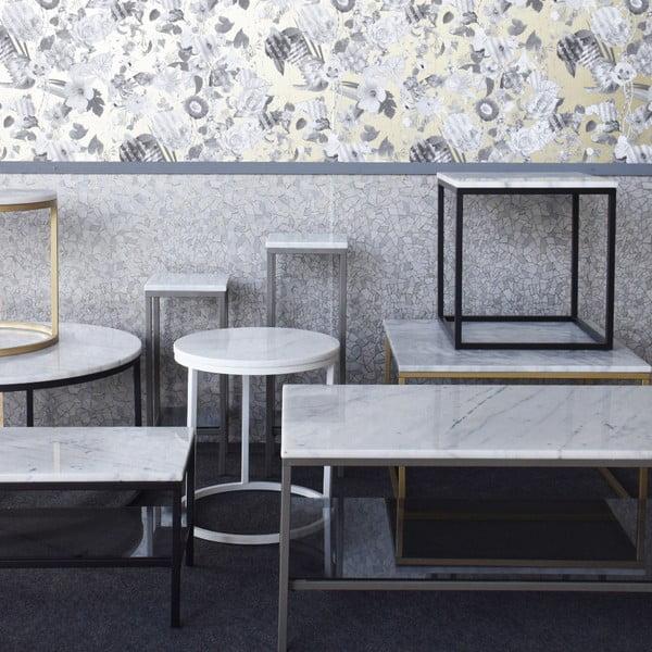 Marmurowy stolik z czarną konstrukcją RGE Accent 75x48cm