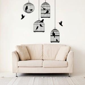 Naklejka ścienna Ptaki i klatki, 120x90 cm