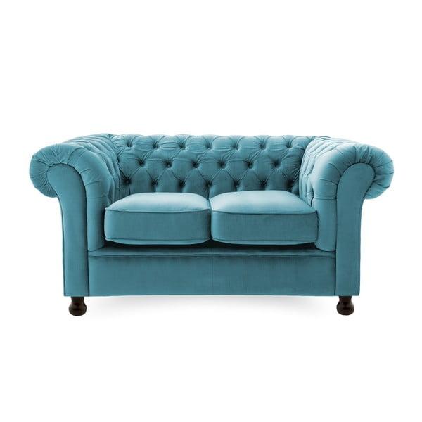 Niebieska sofa dwuosobowa Vivonita Chesterfield