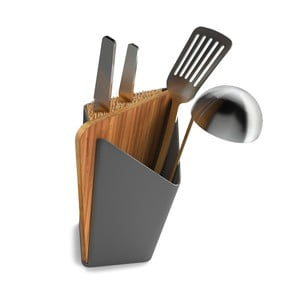 Stojak na noże i akcesoria kuchenne Utensil/Knife Holder + Board, szary