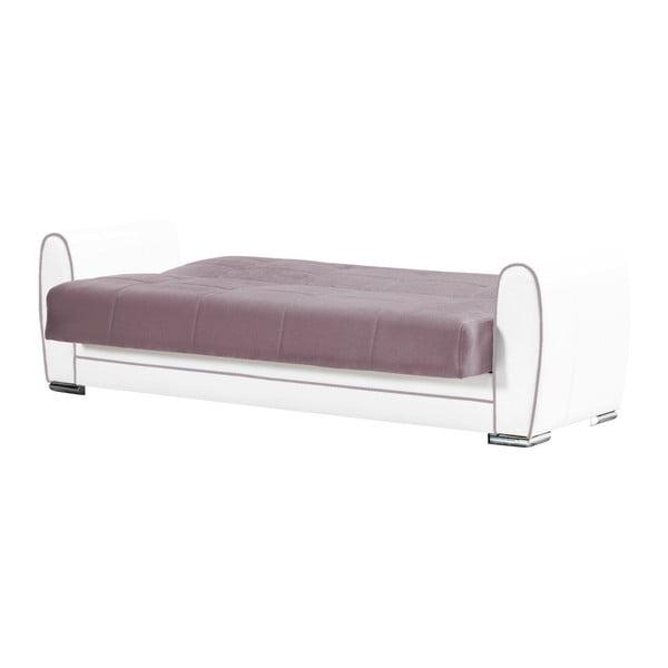Fioletowo-kremowa dwuosobowa sofa rozkładana ze schowkiem Esidra Rest