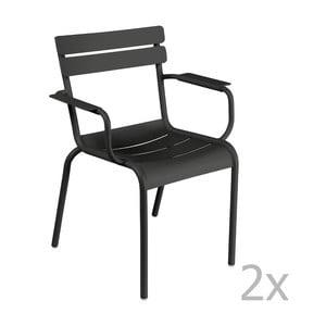 Zestaw 2 czarnych krzeseł z podłokietnikami Fermob Luxembourg