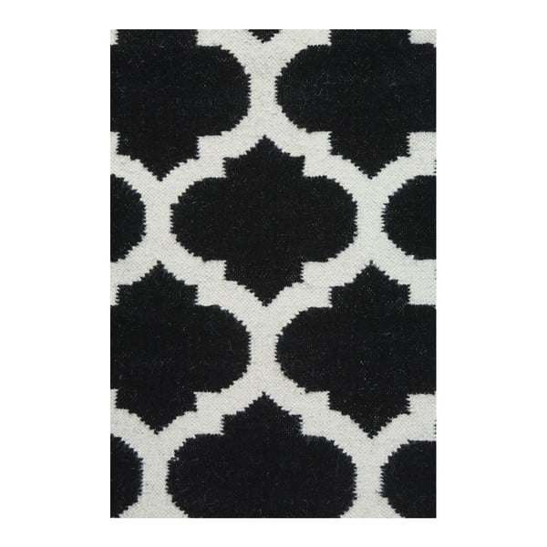 Dywan wełniany Geometry Guilloche White & Black, 160x230 cm