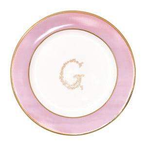 Różowo-biały talerzyk deserowy Green Gate
