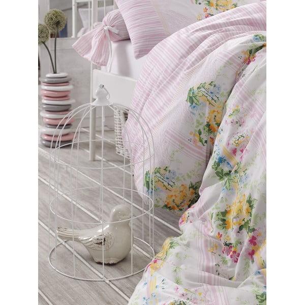 Różowa pościel z prześcieradłem na łóżko jednoosobowe Love Colors Sarah, 160 x 220 cm