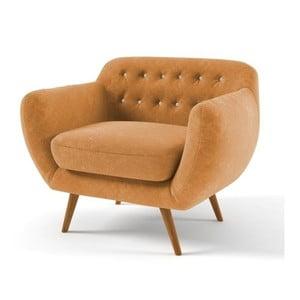 Żółty   fotel z jasnobeżowymi guzikami Wintech Indigo