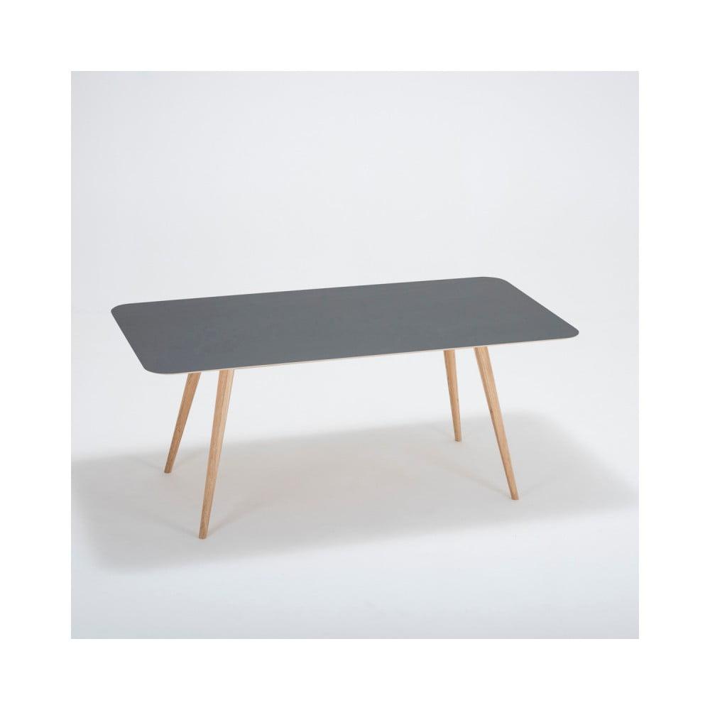 Stół z litego drewna dębowego z czarnym blatem Gazzda Linn, 180x90cm