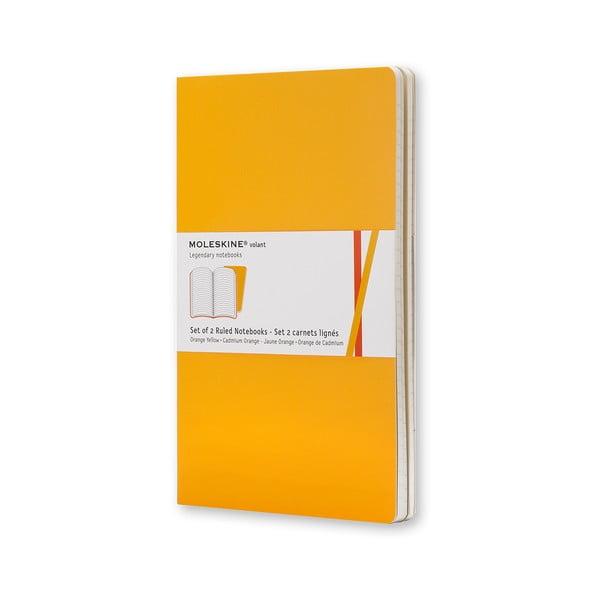 Zestaw 2 notesów Moleskine Volant 7x11 cm, żółty + strony w linię