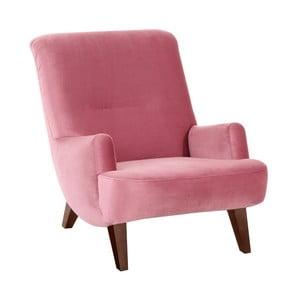 Różowy fotel z brązowymi nogami Max Winzer Brandford Suede