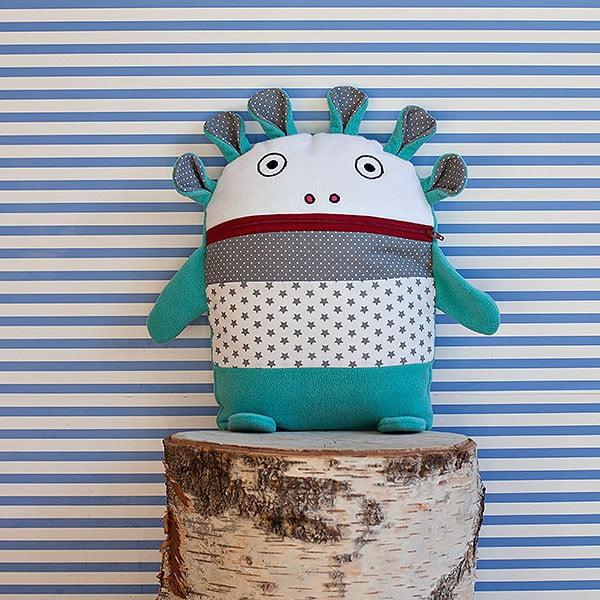 Turkusowo-szary piżamożerca Bartex, 35x30 cm