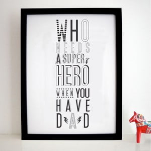 Plakat Super Hero Dad, 30x40 cm
