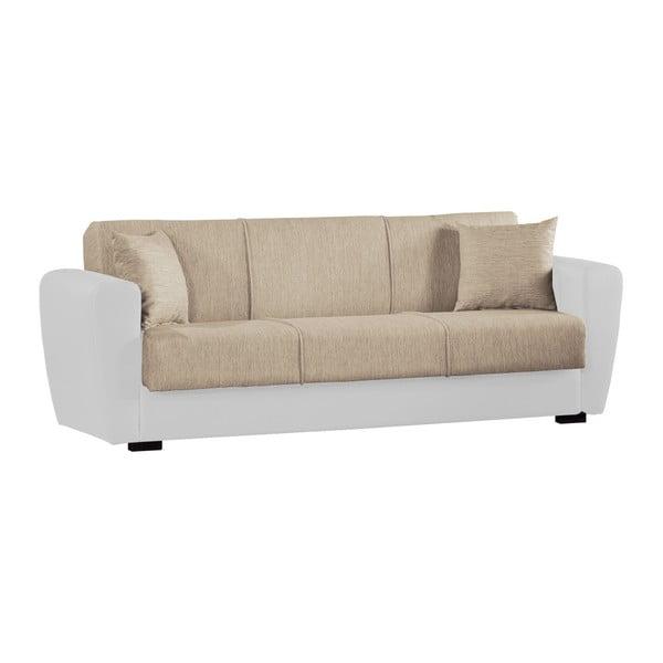 Beżowo-biała trzyosobowa sofa rozkładana ze schowkiem Esidra Comfort