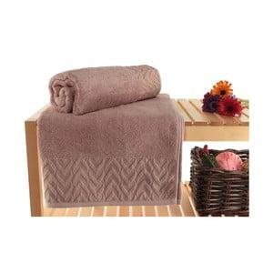 Zestaw 2 ciemnofioletowych ręczników kąpielowych Kalp, 90x150 cm