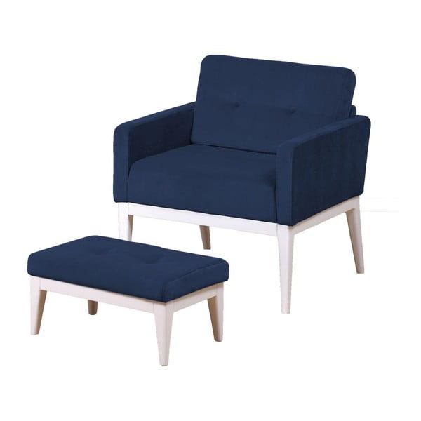 Fotel z podnóżkiem Preston Navy