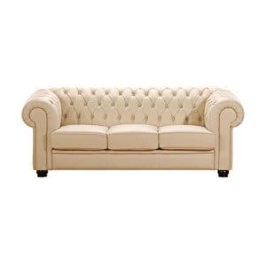 Beżowa skórzana sofa trzyosobowa Max Winzer Chandler