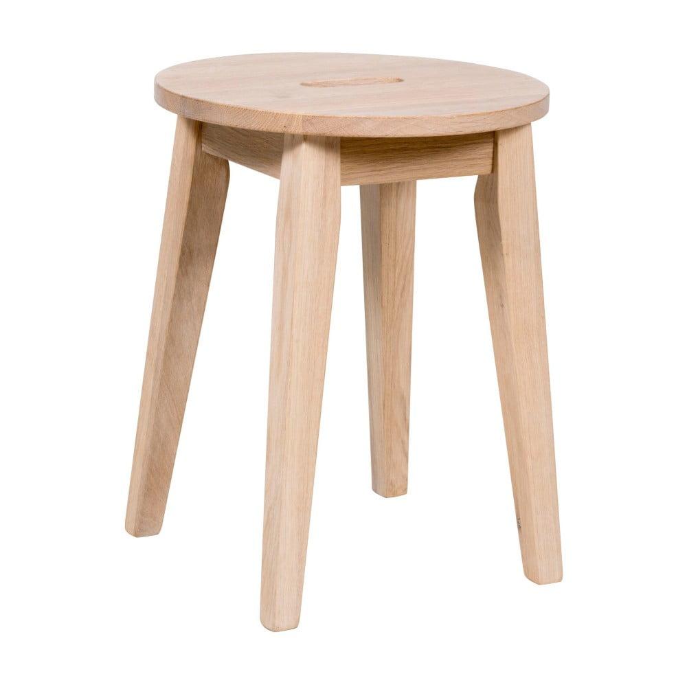 Lakierowany matowy niski stołek z drewna dębowego Rowico Frigg