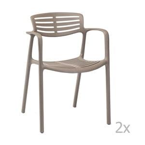 Zestaw 4 brązowych krzeseł ogrodowych z podłokietnikami Resol Toledo Aire
