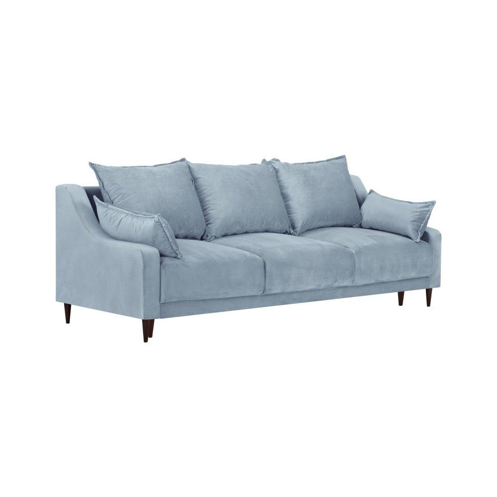 Jasnoniebieska sofa rozkładana ze schowkiem Mazzini Sofas Freesia, 215 cm