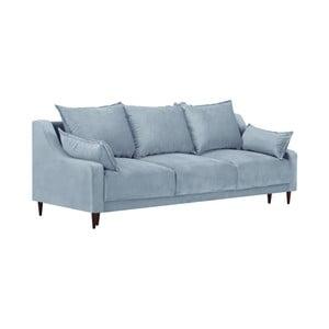 Jasnoniebieska 3-osobowa sofa rozkładana z miejscem do przechowywania Mazzini Sofas Freesia