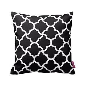 Czarna   poduszka z białymi detalami Puff,43x43cm