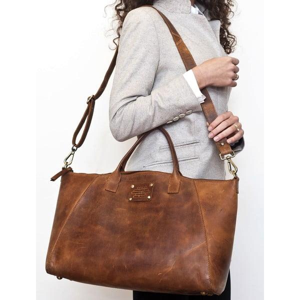 Brązowa   torebka skórzana O My Bag Fly Violet Maxi