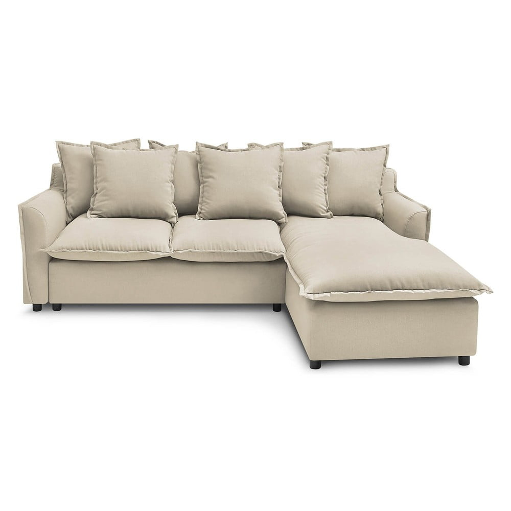 Beżowa sofa rozkładana Bobochic Paris Mona, prawostronna