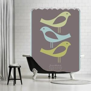 Zasłona prysznicowa Three Little Birds Brown, 180x180 cm