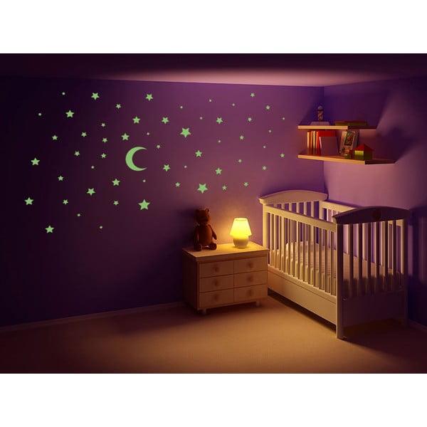 Świecąca w ciemności naklejka Gwiazdy i księżyc, 60x30 cm