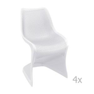 Zestaw 4 białych krzeseł ogrodowych Resol bloom