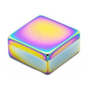 Pojemnik z kolorowym efektem połysku i przykrywką Lund London Luxe Square