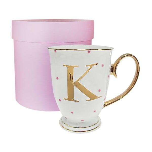 Kubek z literką K w groszki w kolorze fuksji