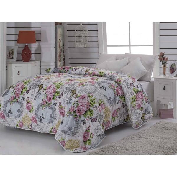 Narzuta pikowana na łóżko jednoosobowe Mimoza Pink, 155x215 cm