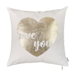 Biała poszewka na poduszkę Apolena Shimmering Heart, 45x45cm
